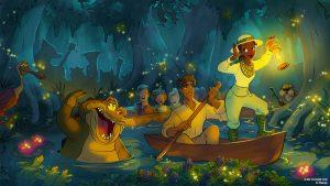 """Mais detalhes do novo tema """"A Princesa e o Sapo"""" para a atração Splash Mountain"""